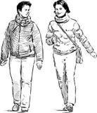 Cheerful pedestrians Stock Photo