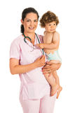 Cheerful pediatrician wth toddler Stock Images