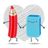 Cheerful pencil and an eraser holding hands dancing. Vector illustration of a cheerful pencil and an eraser holding hands dancing on a background of hearts drawn stock illustration