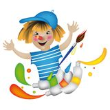 Cheerful pencil with paints Stock Images