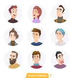 Cheerful people avatar collection. User faces. Trendy modern style. Flat Cartoon Character design stock illustration