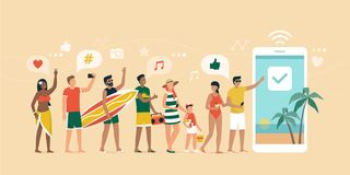 Cheerful people booking a summer vacation online. Cheerful people booking a summer vacation on the beach online, they are standing in line, having fun and using royalty free illustration