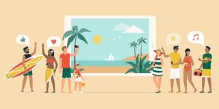 Cheerful people booking a tropical beach vacation online. Cheerful people booking a summer vacation online, they are having fun and standing next to a digital royalty free illustration
