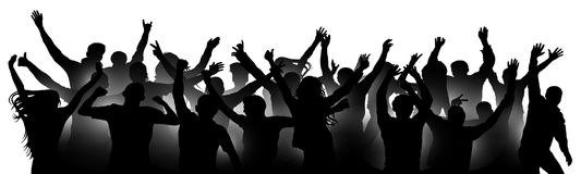 Cheerful people crowd applauding, silhouette. Party, applause. Fans dance concert, disco, concert, festival. Crowd of people dancing, hands up. Isolated vector royalty free illustration