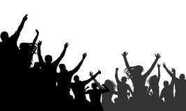 Cheerful people crowd applauding, silhouette vector. Party, applause. Fans dance concert, disco. Cheerful people crowd applauding, silhouette vector. Party Royalty Free Stock Photos