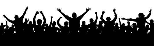 Cheerful people having fun celebrating. Crowd of fun people on party, holiday. Applause people hands up. Silhouette Vector Illustration vector illustration