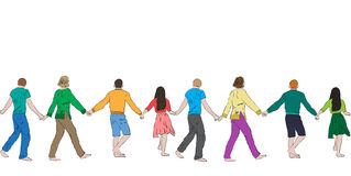 Cheerful people holding hands, seamless pattern Stock Photo