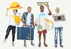 Cheerful people holding travel icons