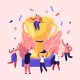 Cheerful People Laughing with Hands Up around of Huge Gold Cup with Man Sitting on Top. Employees Rejoice for New Project. Success, Win. Joyful Colleagues stock illustration