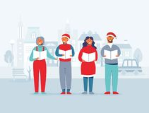 Cheerful People in Santa Hats Singing Christmas Carols. Winter Holidays Characters on Cityscape Background. Xmas Singers. Vector illustration stock illustration
