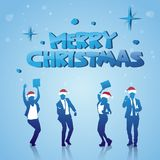 Cheerful People Silhouettes Wearing Santa Hats Celebrating Merry Christmas Winter Holidays Poster. Vector Illustration Stock Image