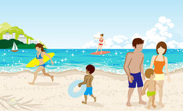 Cheerful People in Summer beach Royalty Free Stock Images