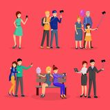 Cheerful people taking photos illustration set. Friends, family, colleagues posing for selfie cartoon characters. Friendship, social media lifestyle, trendy royalty free illustration
