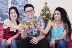 Cheerful people toast with champagne Stock Photography