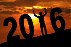 Cheerful person with 2016 on the hill Royalty Free Stock Images