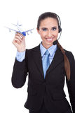 Cheerful  phone operator on airport Royalty Free Stock Image