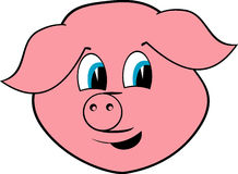Cheerful pig. Portrait on white background Royalty Free Stock Photography