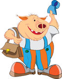 Cheerful pig with a cap and a bag Royalty Free Stock Photo