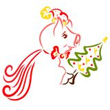 Cheerful pig in a cape and a Christmas hat with a Christmas tree. In the paw royalty free illustration