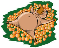 A cheerful pig lies in a heap of oranges Stock Photography
