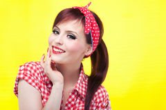 Cheerful pin up girl - retro style portrait Royalty Free Stock Photos
