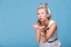 Cheerful pin up girl - retro style portrait Royalty Free Stock Images