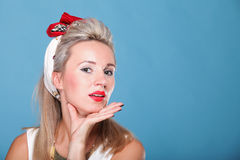 Cheerful pin up girl - retro style portrait Stock Images