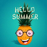 Cheerful pineapple in the  sunglasses Royalty Free Stock Photography