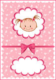 Cheerful pink babies card. stock illustration