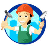 Cheerful plasterer with a trowel and hammer Royalty Free Stock Image