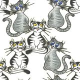 Cheerful playful cats backdrop white hand drawing illustration royalty free illustration