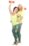 Cheerful plus size women posing with fit equipment Stock Photography