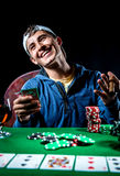 Cheerful poker player Royalty Free Stock Photo