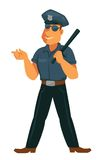 Cheerful police officer in uniform with rubber bat Royalty Free Stock Images
