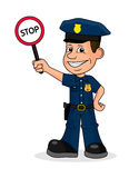 Cheerful policeman holding a sign stop. On the image presented Cheerful policeman holding a sign stop Royalty Free Stock Image