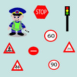 Cheerful policeman,road signs Stock Images