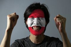 Cheerful portrait of a man with the flag of the Austria painted on his face on grey background. The concept of sport or nationalism stock photos