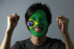 Cheerful portrait of a man with the flag of the Brazil painted on his face on grey background. The concept of sport or nationalism. Green yellow and blue color royalty free stock photos