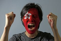 Cheerful portrait of a man with the flag of the Hong kong painted on his face on grey background. royalty free stock photo
