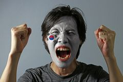 Cheerful portrait of a man with the flag of the South Korea painted on his face on grey background. The concept of sport or nationalism stock photo