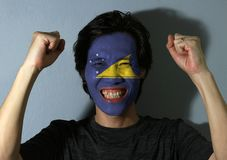 Cheerful portrait of a man with the flag of Tokelau painted on his face on grey background. The concept of sport or nationalism royalty free stock image