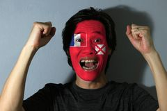 Cheerful portrait of a man with the Unofficial flag of the Territory of the Wallis and Futuna Islands painted on his face on grey. Background. The concept of stock photos