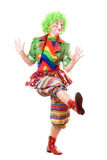Cheerful posing female clown. Isolated on white Royalty Free Stock Photos