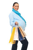 Cheerful pregnant at shopping Royalty Free Stock Photography