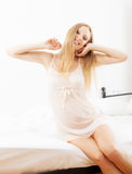 Cheerful pregnant woman awaking up Royalty Free Stock Photography