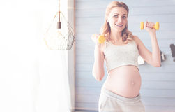 Cheerful pregnant woman doing sport exercises. Regular sport exercises. Cheerful beautiful young woman holding dumbbells and doing morning exercises while stock image