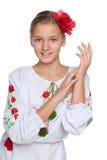 Cheerful preteen Ukrainian girl Royalty Free Stock Photo