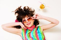 Cheerful pretty brunette have a rest Stock Photography