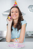 Cheerful pretty brunette on her 30th birthday Royalty Free Stock Photos