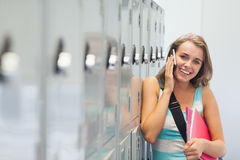 Cheerful pretty student phoning Stock Photo